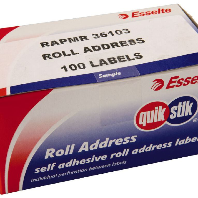 Quik Stik Labels Mr36103 36mm x 103mm 100 Pack White, , hi-res