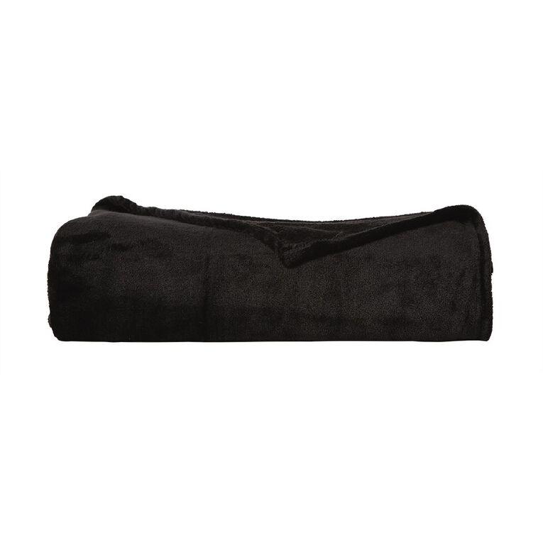 Living & Co Blanket Plush Black Queen, , hi-res