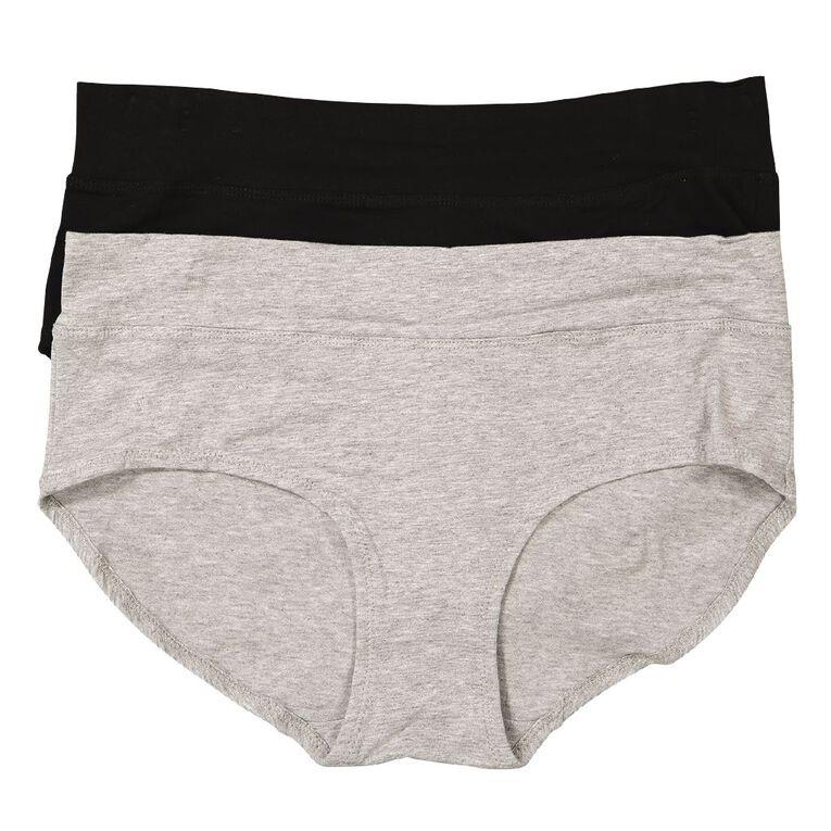 Underworks Women's Midi Briefs 2 Pack, Grey Marle, hi-res