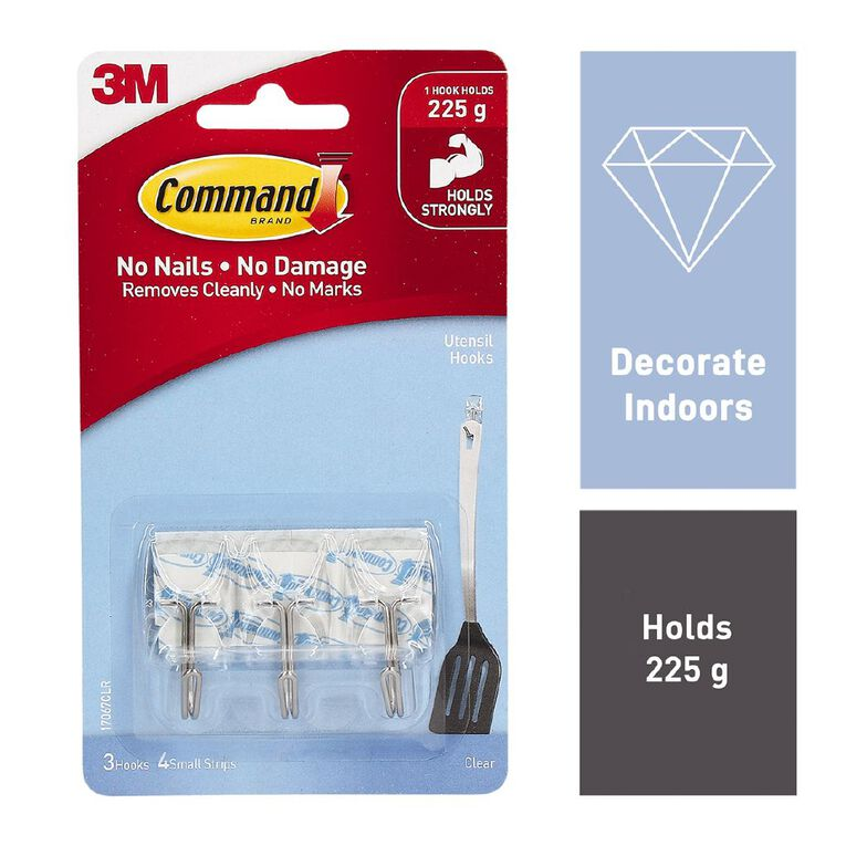 Command Utensil Hooks with Strips Clear Small, , hi-res