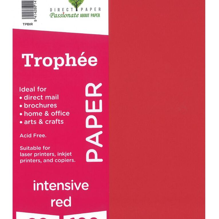 Trophee Paper 80gsm 100 Pack Intensive Red A4, , hi-res