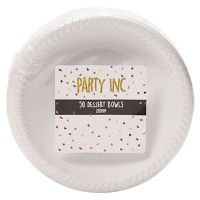 Party Inc Dessert Bowls White 180mm 50 Pack