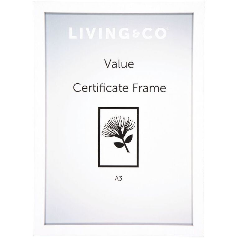 Living & Co Value Certificate Frame 2 pack White A4, White, hi-res