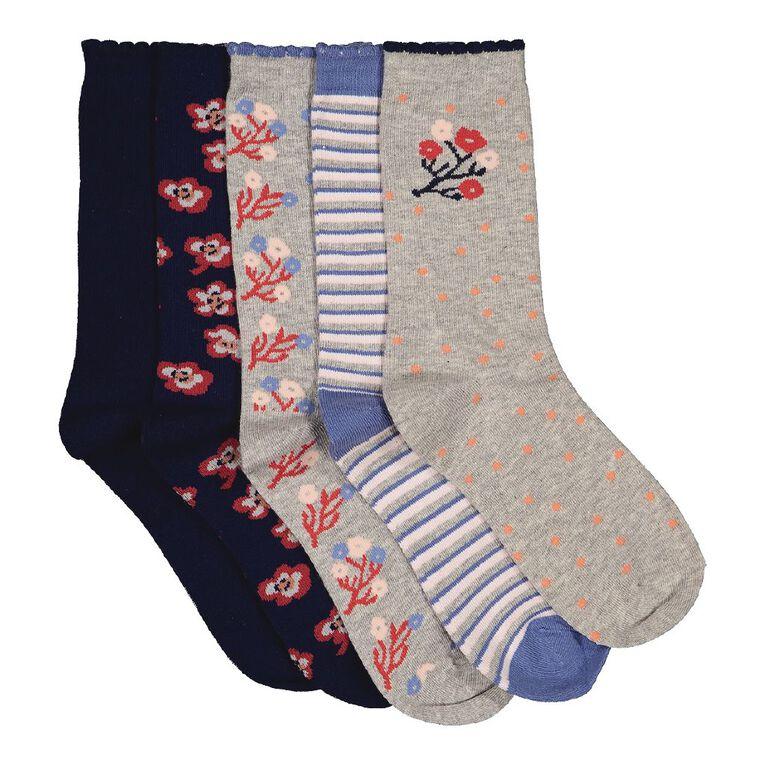 H&H Women's Crew Socks 5 Pack, Navy S21 FLORAL, hi-res