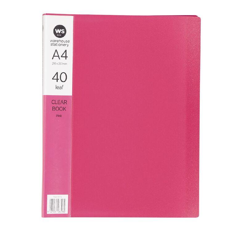 WS Clear Book 40 Leaf Red A4, , hi-res