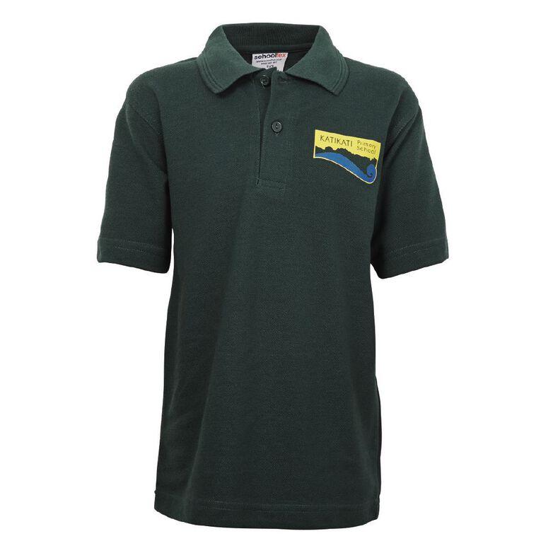 Schooltex Katikati Short Sleeve Polo with Transfer, Bottle Green, hi-res