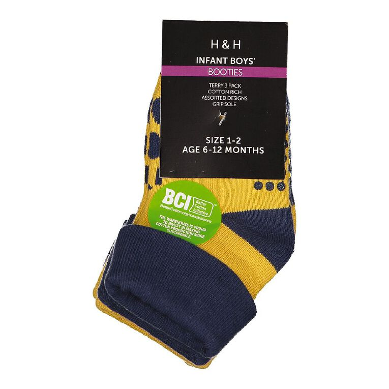 H&H Infant Boys' Bootie Terry Socks 3 Pack, Navy, hi-res
