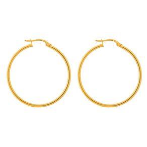 9ct Gold Thin Hoop Earrings 30mm