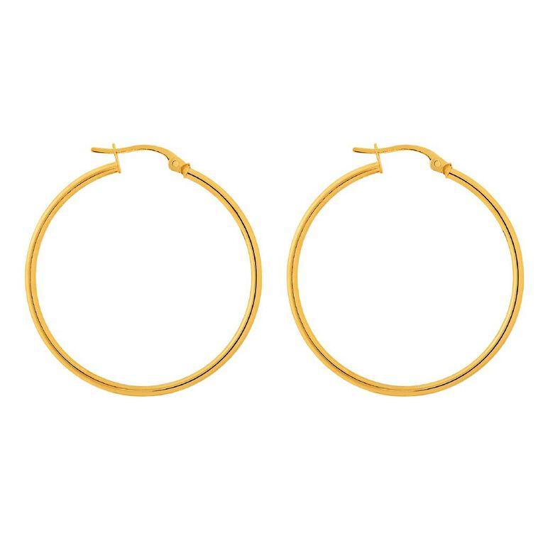 9ct Gold Thin Hoop Earrings 30mm, , hi-res