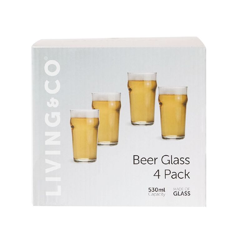 Living & Co Classic Beer Glass 4 Pack, , hi-res