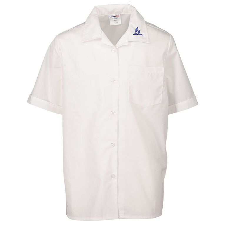 Schooltex SDA Short Sleeve Blouse with Embroidery, White, hi-res