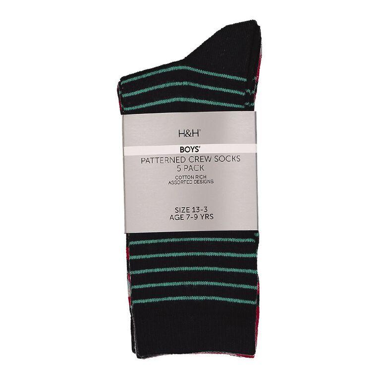 H&H Boys' Jacquard Crew Socks 5 Pack, Navy/Red, hi-res