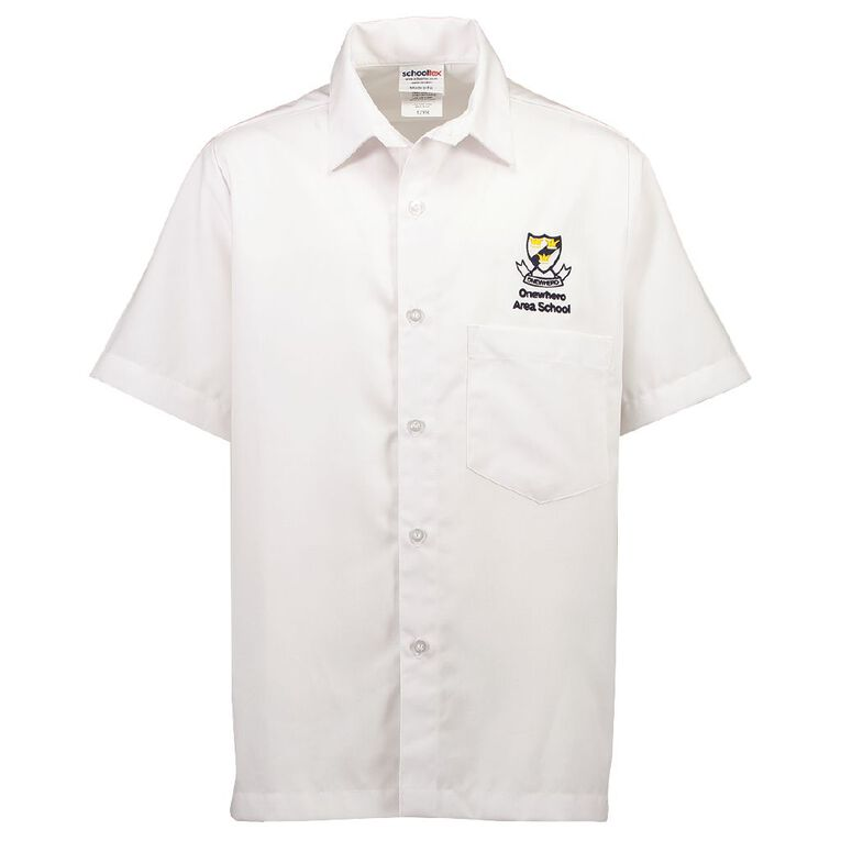 Schooltex Onewhero Area School Short Sleeve Shirt with Embroidery, White, hi-res