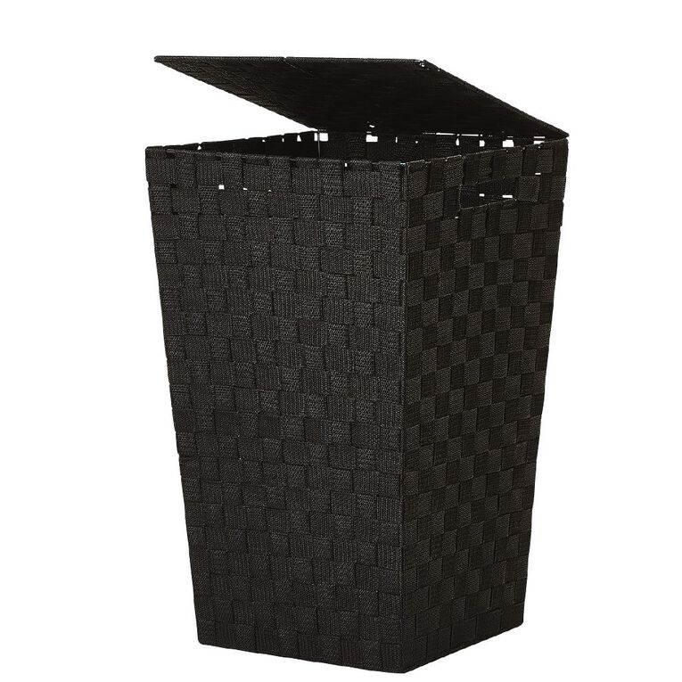 Living & Co Woven Hamper Black, , hi-res