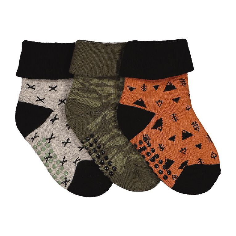 H&H Infant Boys' Bootie Terry Socks 3 Pack, Khaki, hi-res image number null