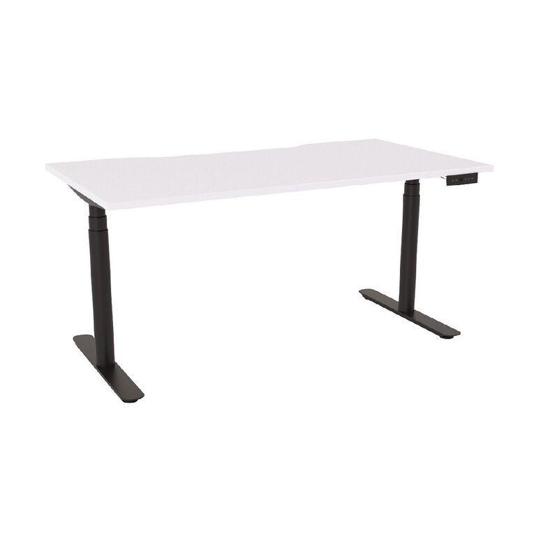 Agile Round Electric Desk 1500 Scallop Top Black Frame White Top, , hi-res