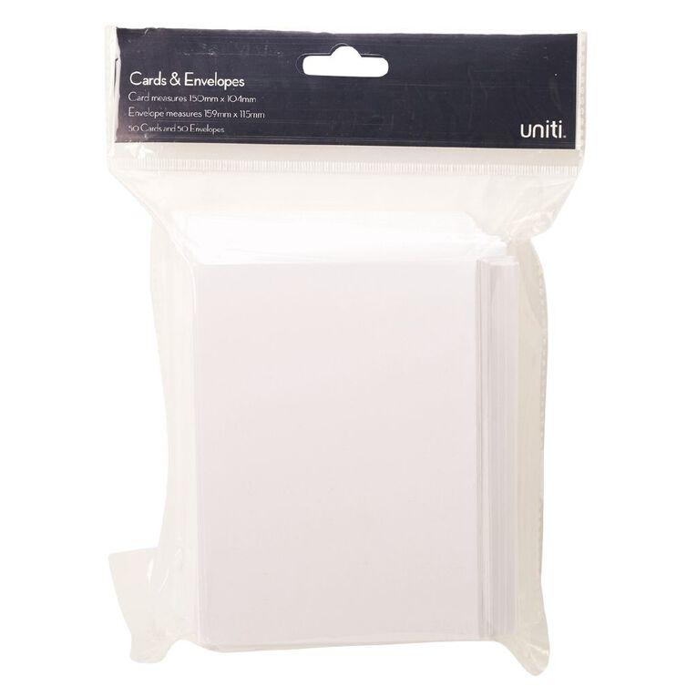Uniti Cards & Envelopes White 50 Pack, , hi-res