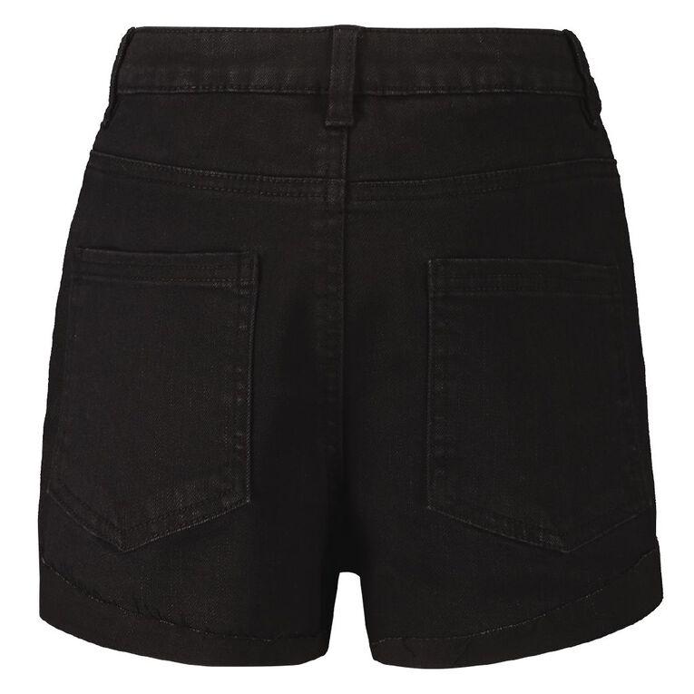 Young Original High Waisted Denim Shorts, Black, hi-res