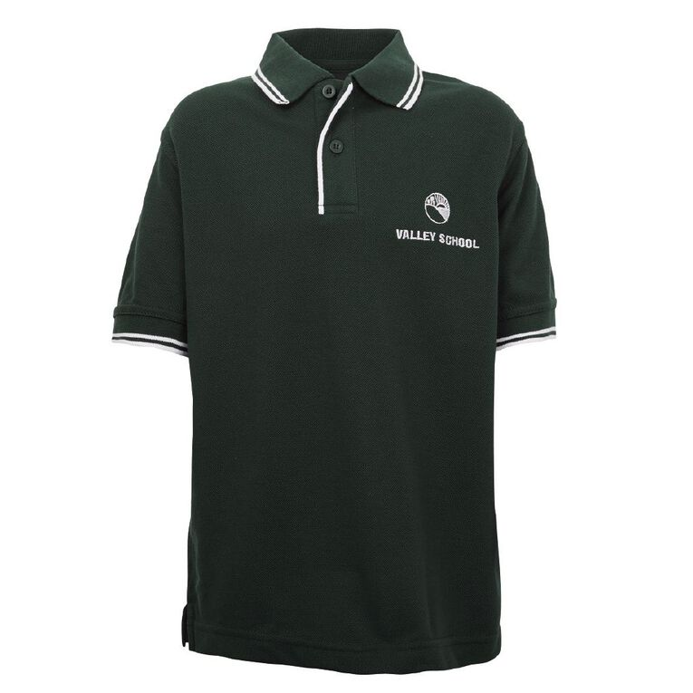 Schooltex Valley School Short Sleeve Polo with Embroidery, Bottle/White, hi-res