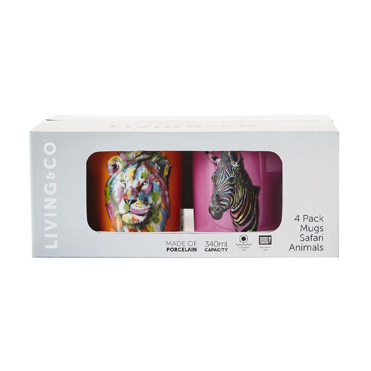 Living & Co Safari Animals Printed Mugs 4 Pack, , hi-res