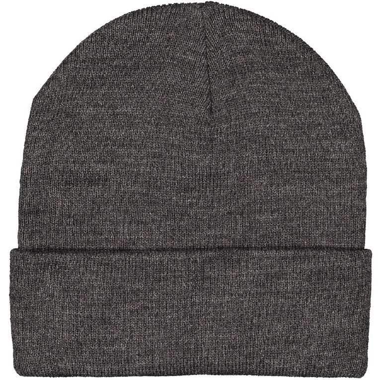 H&H Essentials Entry Turn Up Beanies, Charcoal/Marle, hi-res