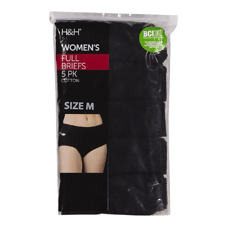 H&H Women's Full Briefs 5 Pack, Black, hi-res image number null