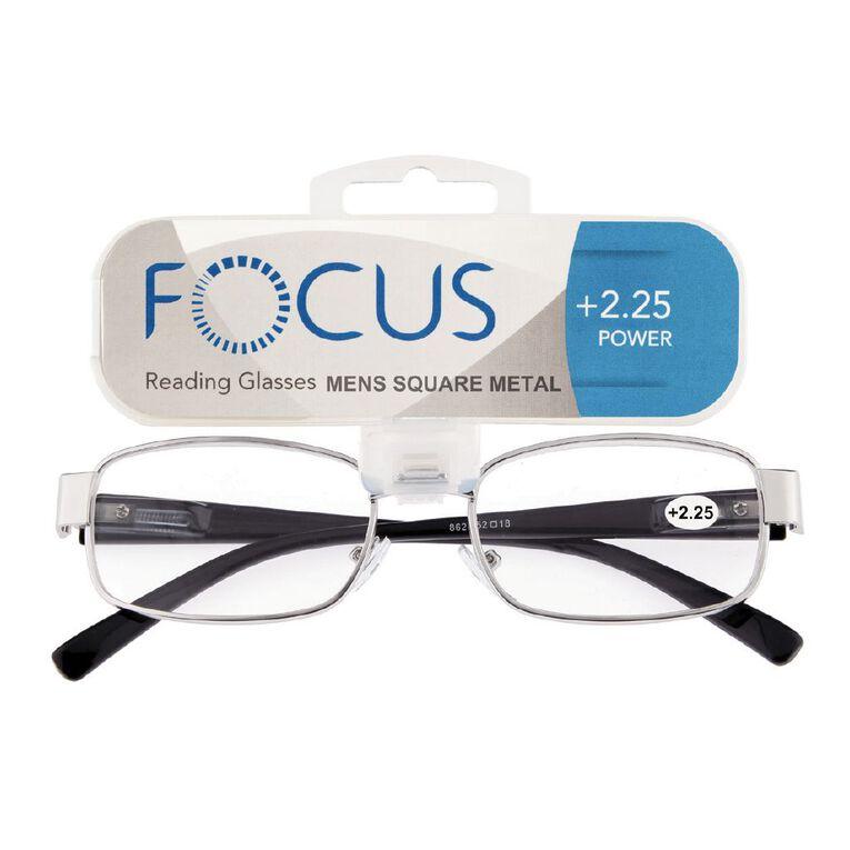 Focus Reading Glasses Men's Square Metal Power 2.25, , hi-res