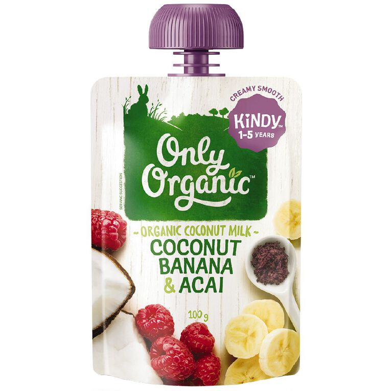 Only Organic Coconut Banana & Acai Smoothie Pouch 100g, , hi-res