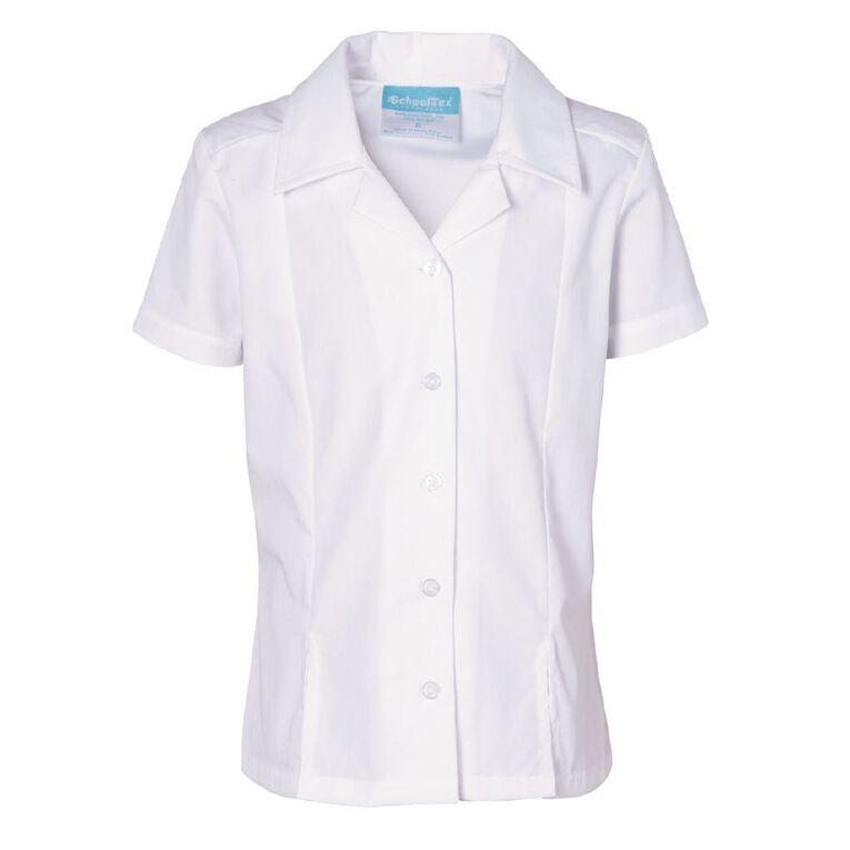 Schooltex Girls' Short Sleeve Split Hem Blouse, White, hi-res