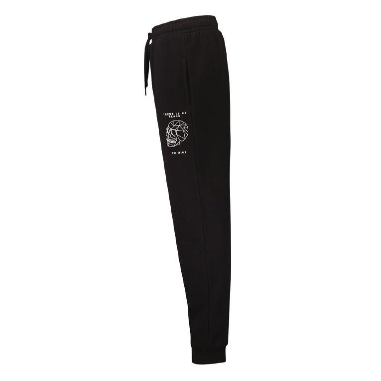 Young Original Print Leg Trackpants, Black, hi-res image number null