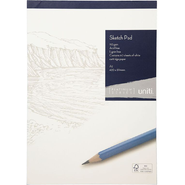 Uniti Platinum Sketch Pad 110gsm A2 60 sheets, , hi-res
