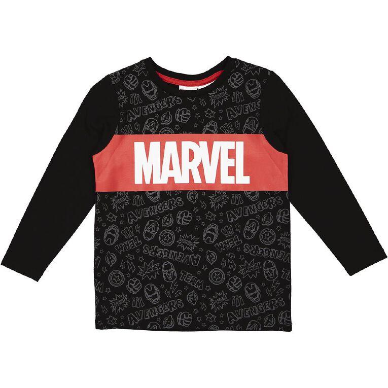 Marvel Long Sleeve Print Tee, Black, hi-res