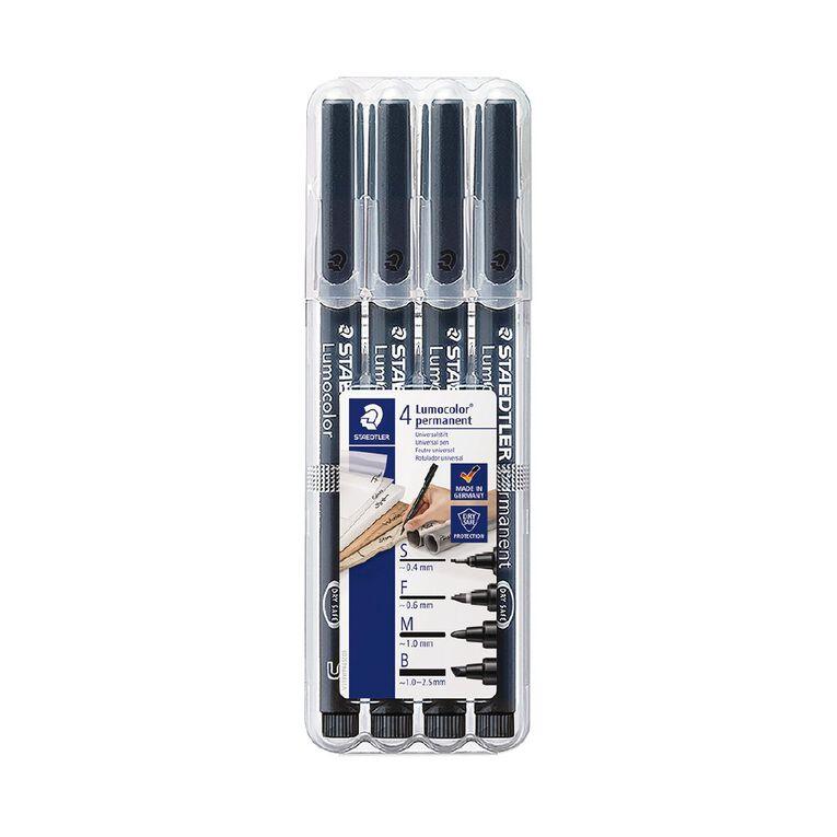 Staedtler Lumocolor Permanent OHP pen Black Pack of 4 - Mixed, , hi-res