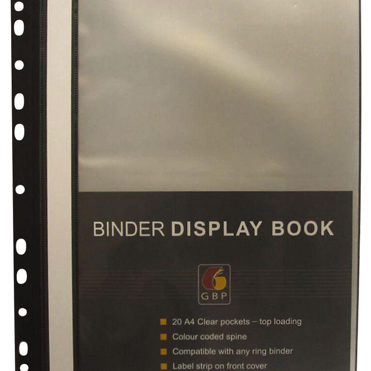 Office Supply Co Binder Display Book 20 Pocket Black A4, , hi-res