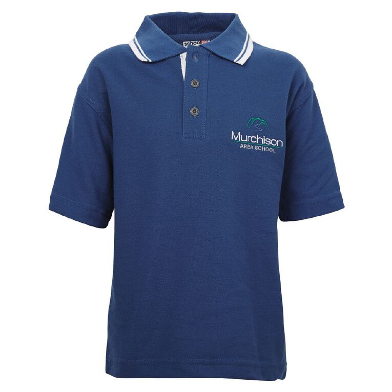 Schooltex Murchison Area Short Sleeve Polo with Embroidery, Royal/White, hi-res