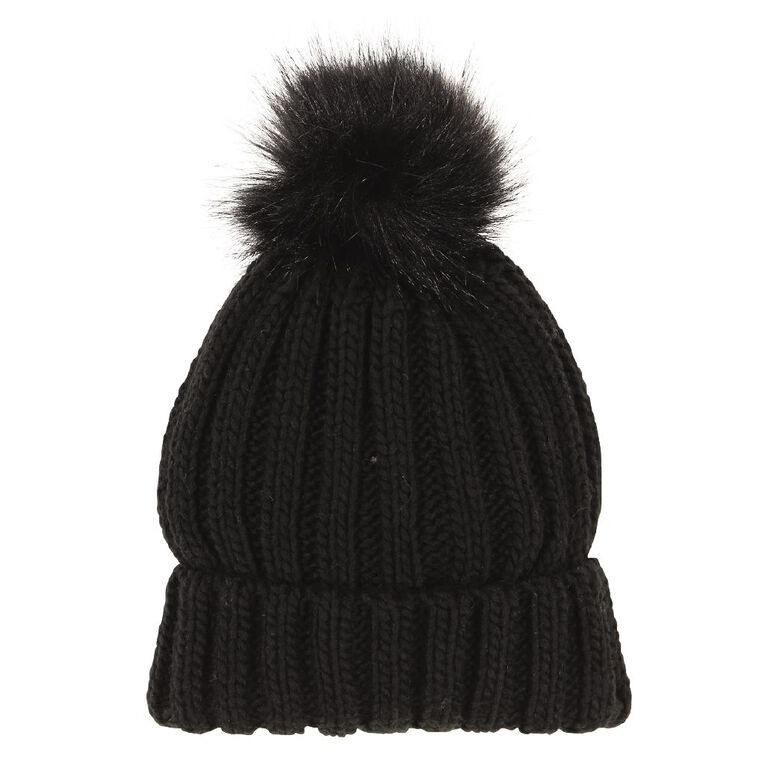 H&H Women's Faux Fur Pom Pom Beanie, Black, hi-res