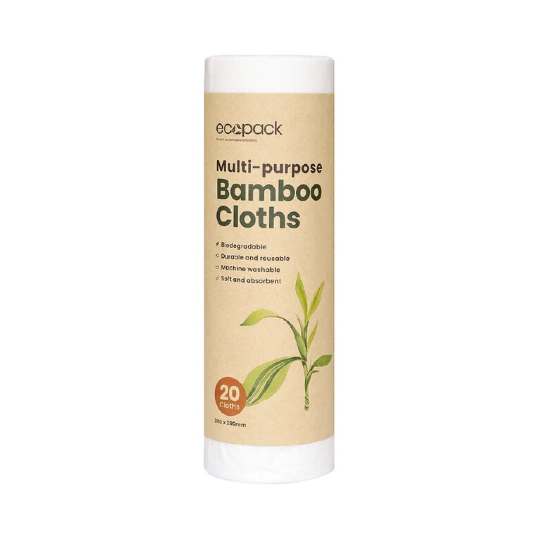 Ecopack Multi-purpose Bamboo White Cloth 20pk, , hi-res