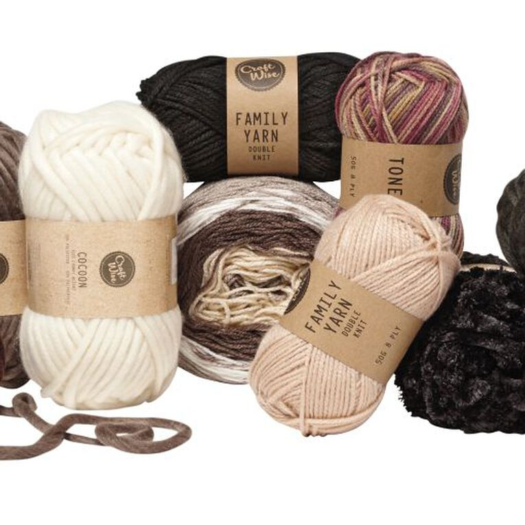 Uniti Yarn Family Double Knit Black 50g, , hi-res