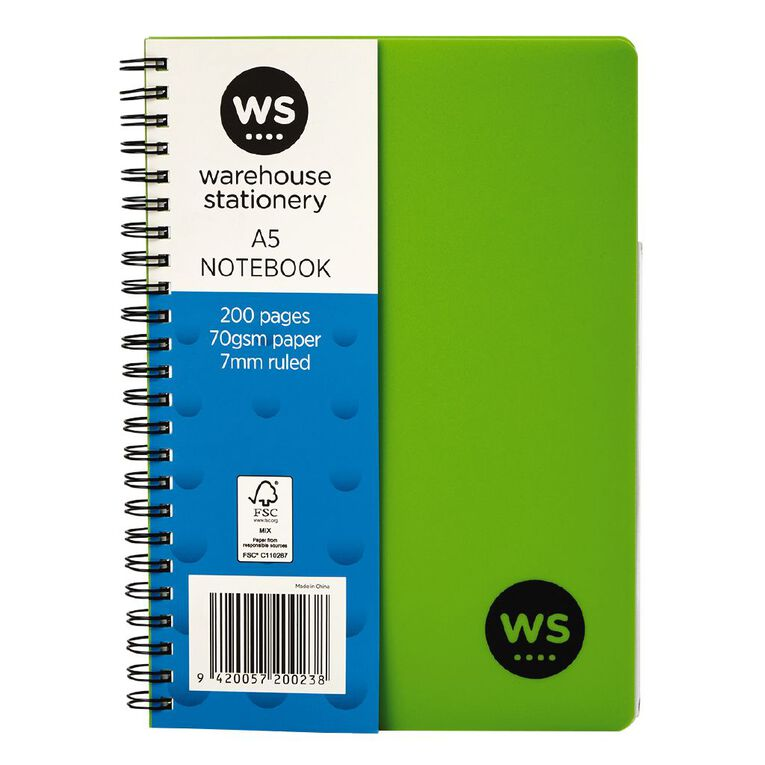 WS Notebook PP Wiro 200 Pages Soft Cover Green A5, , hi-res