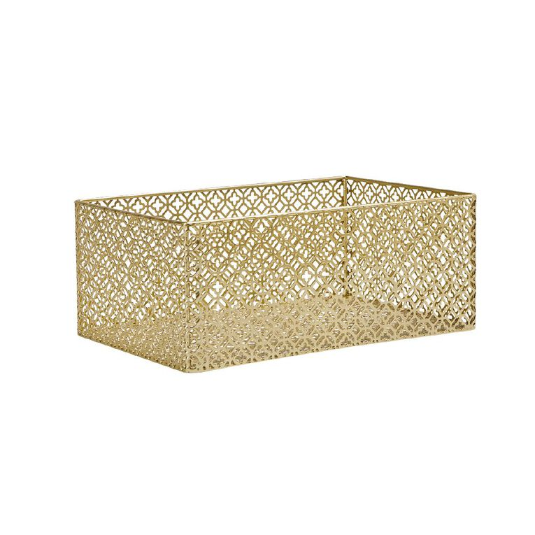 Living & Co Cut Out Metal Crate Small Gold 16cm x 23cm, Gold, hi-res