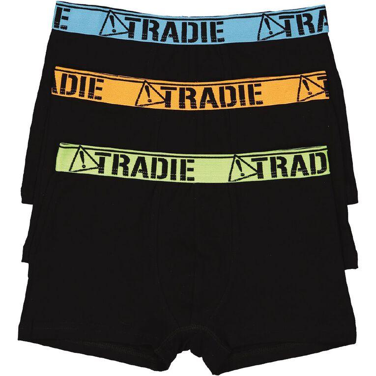 Tradie Boy's Fitted Trunks 3 Pack, Black, hi-res