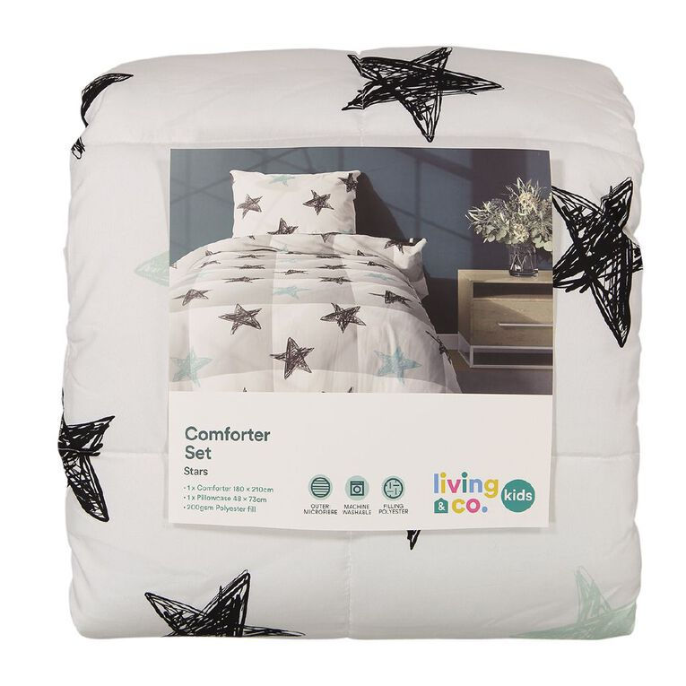 Living & Co Kids Comforter Set Stars Black/White King Single, Black/White, hi-res