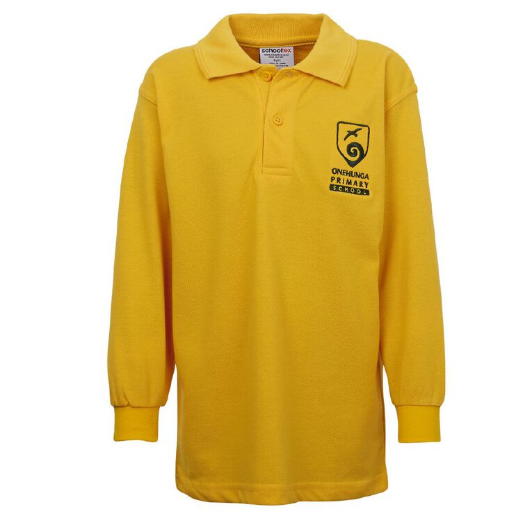 Schooltex Onehunga Primary School Long Sleeve Polo with Screenprint, Gold, hi-res
