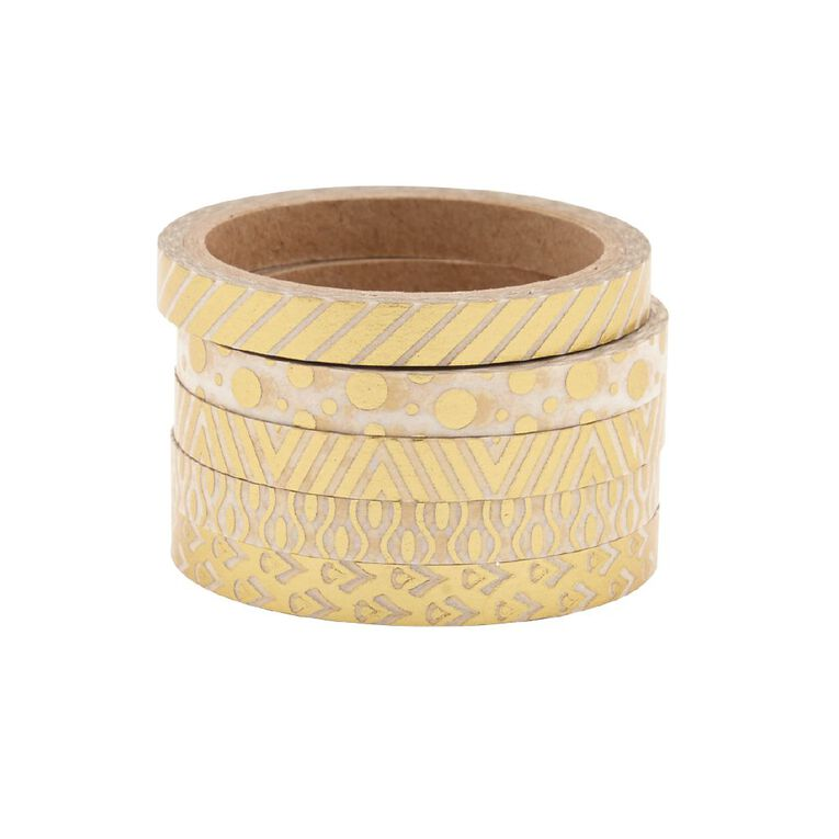 Uniti Washi Tape Thin 5 Pack Gold, , hi-res