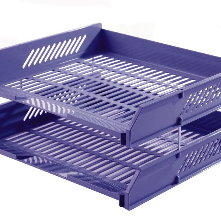 Office Supply Co Letter Tray 2 Pack Blue, , hi-res