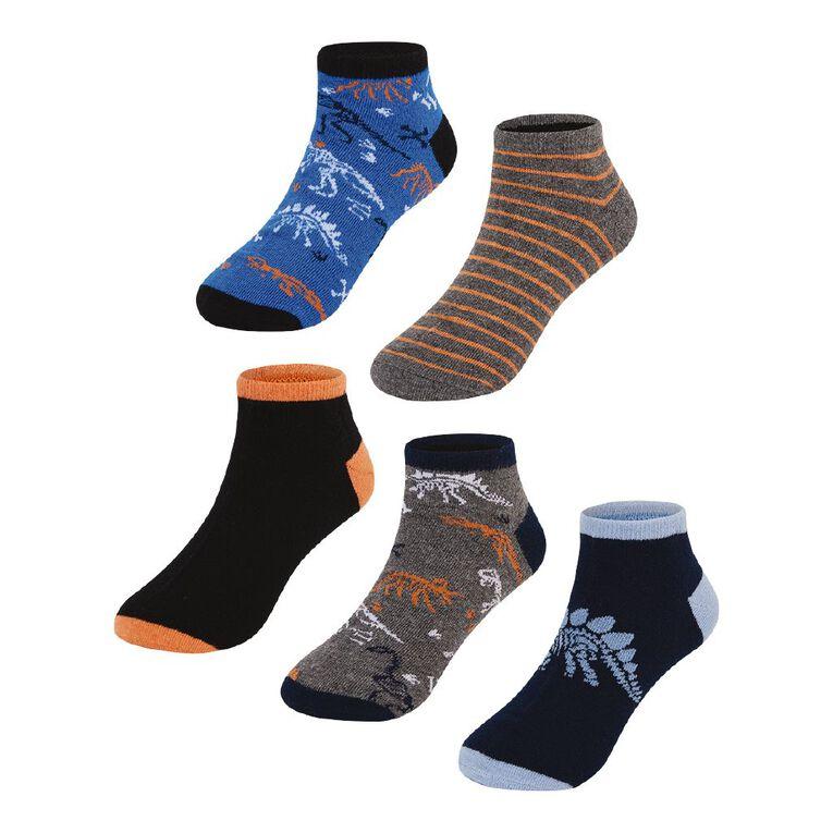 H&H Boys' Jacquard Liner Socks 5 Pack, Blue Mid, hi-res
