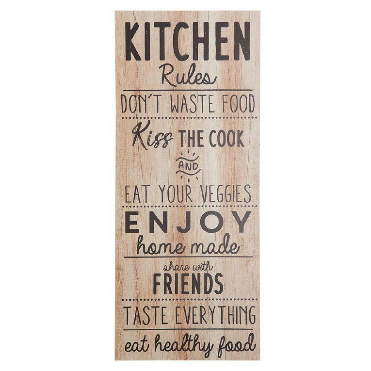 Living & Co Kitchen Rules Plaque 60 x 25 x 1cm, , hi-res