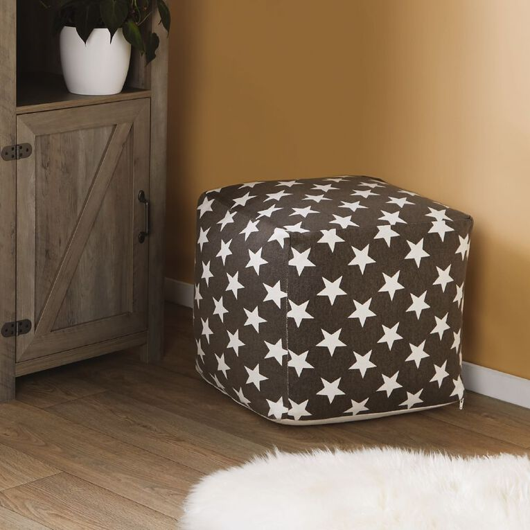 Living & Co Grey Pouf with White Stars, , hi-res