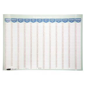 WS Year Planner Perpetual Card Laminated 1000mm X 700mm With Marker