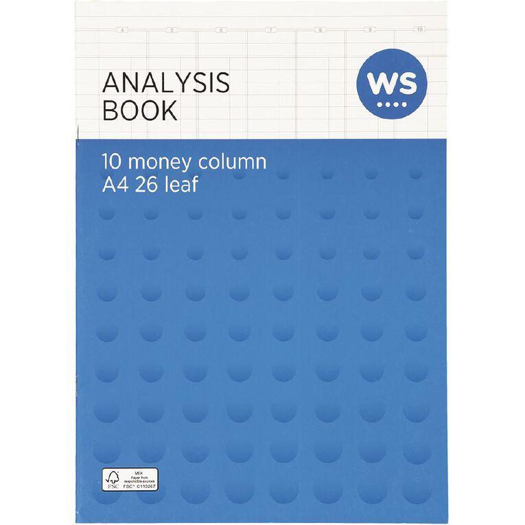 WS Analysis Book Limp 10 Column Blue A4, , hi-res